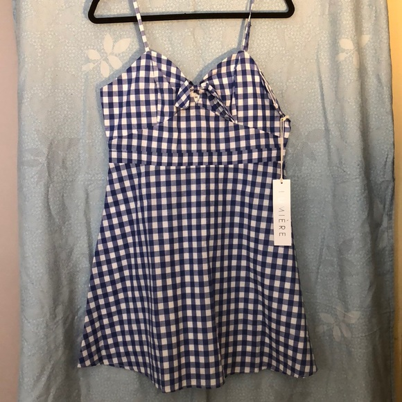 Lumiere Dresses & Skirts - NWT. Lumière blue and white gingham skater dress.